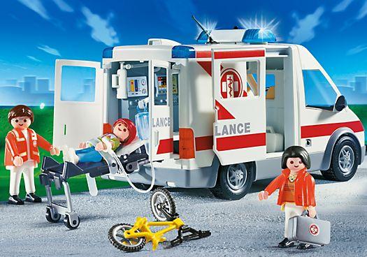 Ambulanciers / blessé / véhicule - PM France PLAYMOBIL® France