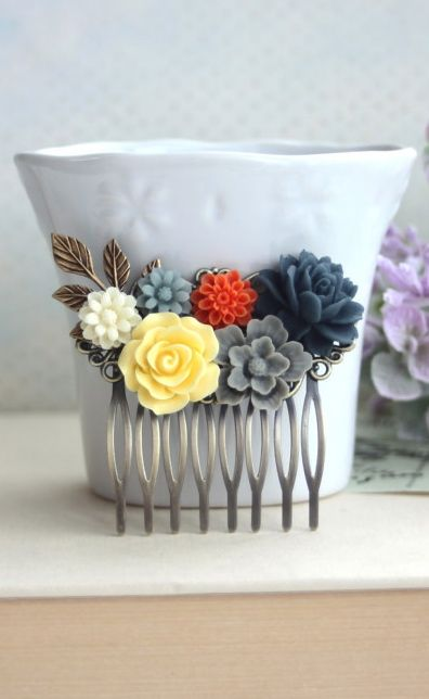 Navy Blue Rose, Orange Yellow, Grey, Ivory, Brass Leaf Flower Hair Comb. Bridesmaid Gift