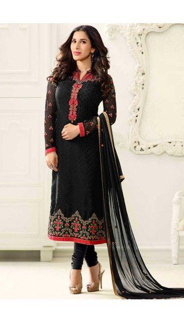 Bollywood Sophie Choudry Black Brasso Churidar Suit With Dupatta - DMV14836