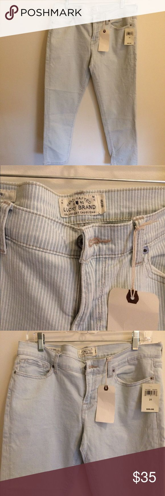 """Lucky Brand Women's Capri Denim Size 12/31"""" new Lucky Brand Women's Charlie capris. Size 12, 31"""" waist. Inseam is 25"""". Low rise. Cotton/poly/spandex blend. Light blue and white stripes. Brand new with tags Lucky Brand Jeans Ankle & Cropped"""