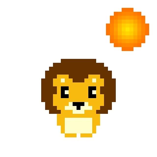天気実況大阪晴れ #pixelart #lion #weather #osaka #ドット絵 #ライオン #天気 #大阪