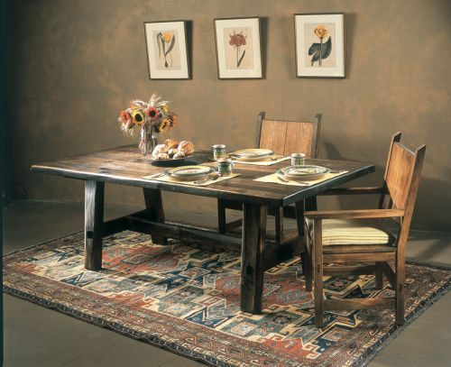rustic dinner tables Custom Rustic Trestle Dining Table