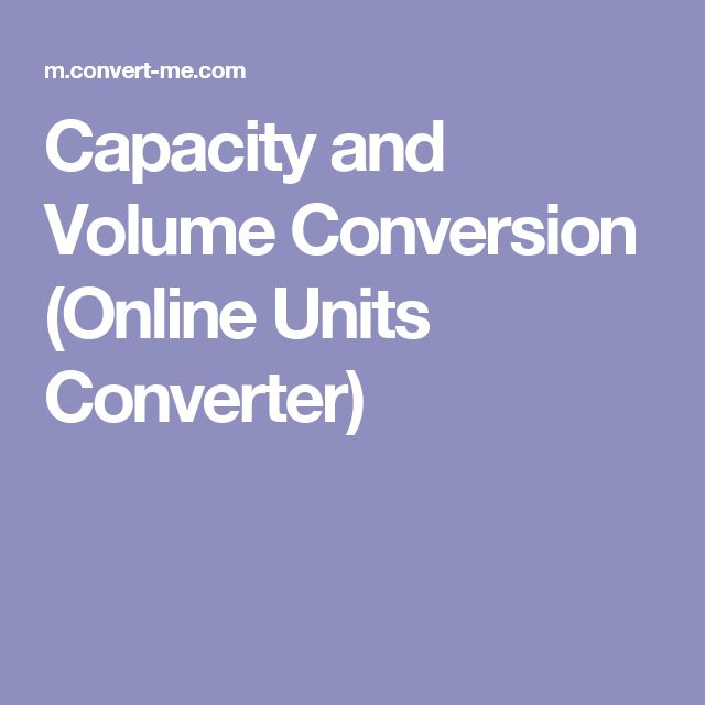 Capacity and Volume Conversion (Online Units Converter)