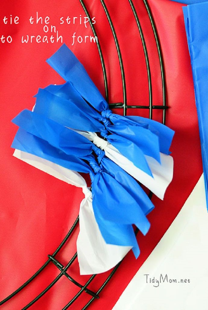 Make PATRIOTIC WREATHS using red, white, and blue plastic tablecloths