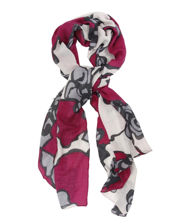 Joia | Oversized Floral Print Scarf in Fuchsia