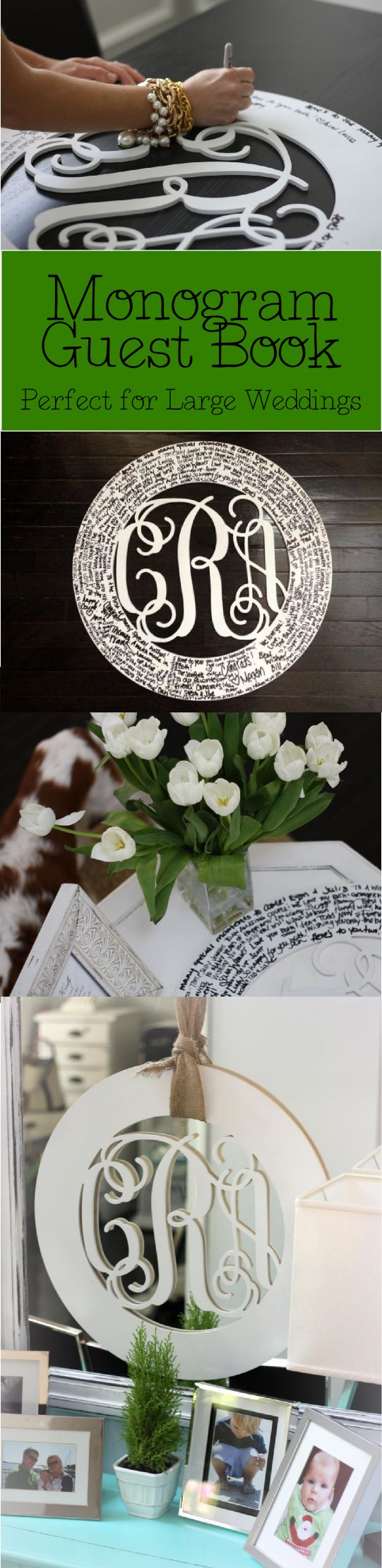 The perfect wedding guest book!  Wedding guests write messages around your monogram.  The monogram can still be seen clearly and is surrounded with sentiments from people you care the most about.