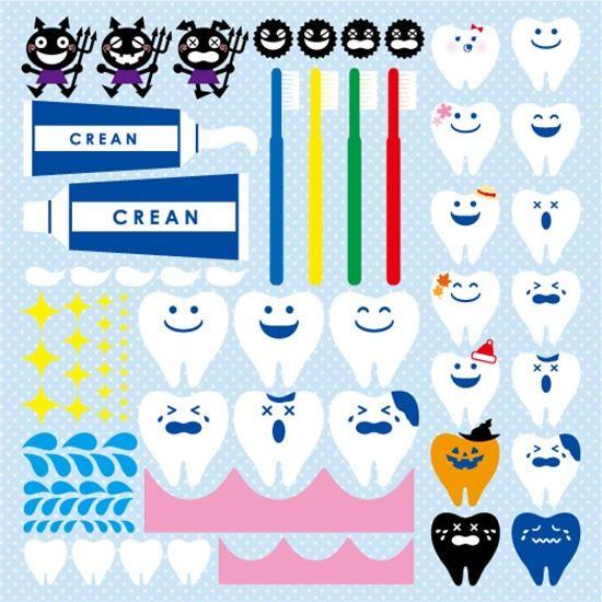 [シール]歯科医院/歯医者/虫歯/歯/歯茎/歯ブラシ/歯磨き粉装飾デコレーションシール窓ガラス・黒板・看板POP用
