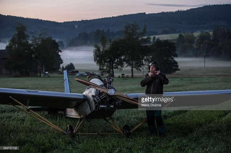 Frantisek Hadrava prepares for his flight on August 24, 2016 in Zdikov, Czech Republic. 45-year-old Frantisek Hadrava from Zdikov in South Bohemia region travels to work in his plane if weather allows. He lands on the field next to Drevostroj Ckyne company, where he works as a locksmith and which is 15 km away from his home by road. Hadrava has spent two years building his own plane and it cost him about 100 thousand Czech Koruna (about 3.700 Euro). It is his first plane and it is made…
