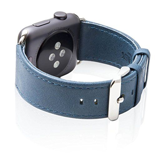 Apple Watch Band, SVAEX 42 mm Genuine Leather Strap Wrist Band Replacement with Metal Buckle - Retro - Marine Blue