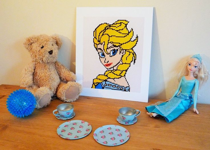 "Frozen Elsa print of original Lego® mosaic (10"" x 12"") by OxfordBrickArt on Etsy"