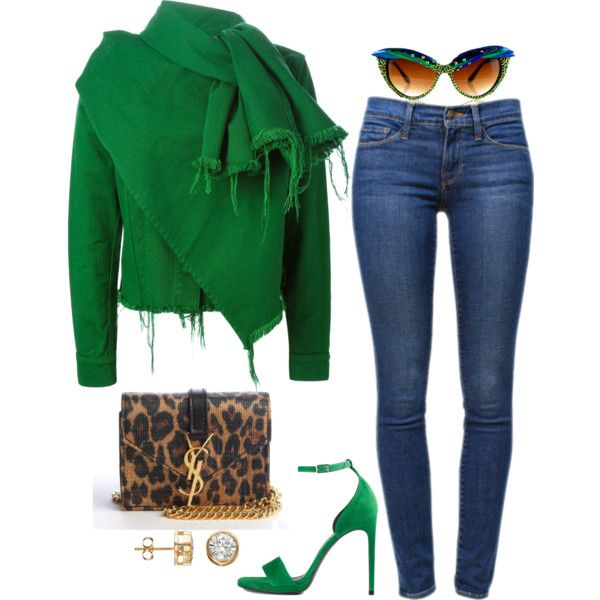 A fashion look from September 2015 featuring Marques'Almeida jackets, Frame Denim jeans and Yves Saint Laurent sandals. Browse and shop related looks.