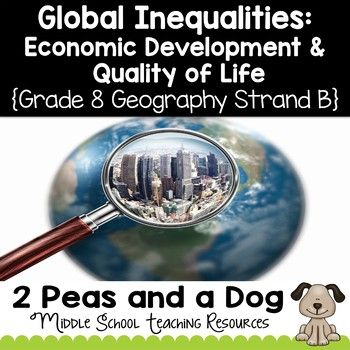 Grade 8 Geography Global Inequalities: Economic Development and Quality of Life. 17 in-depth lessons to help students explore and understand economic development and quality of life. Students will also learn about population pyramids and scatter plot graphs. Aligned to the Ontario Grade 8 Geography Curriculum Strand B. ($)