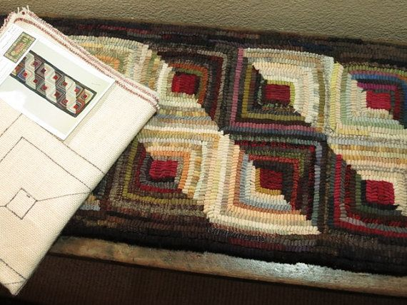 Log Cabin Runner Rug Hooking Pattern on Linen by DesignsInWool, $42.00