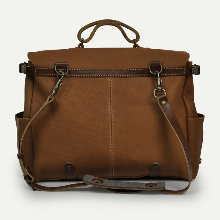 Irving Postman bag Havane. 48 hours business bag, Bleu de Chauffe. Made in France