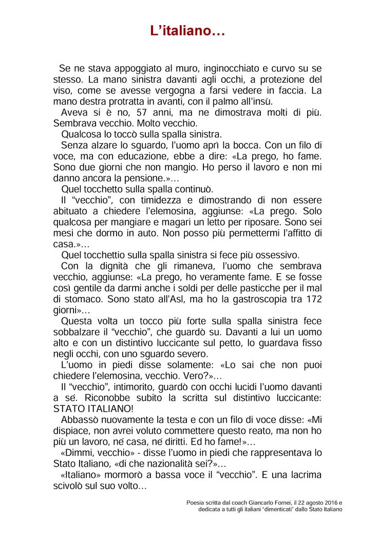 L'Italiano - poesia scritta dal coach Giancarlo Fornei il 22 agosto 2016…