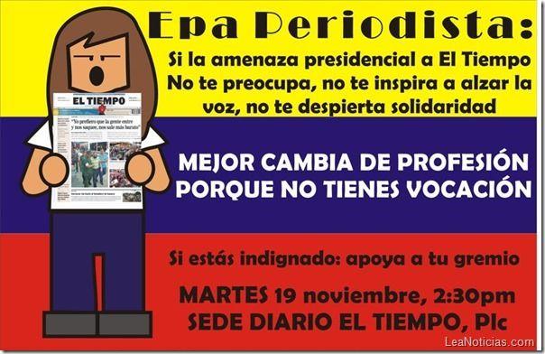 Convocan a periodistas a concentración en apoyo al Diario El Tiempo - http://www.leanoticias.com/2013/11/17/convocan-periodistas-concentracion-en-apoyo-al-diario-el-tiempo/