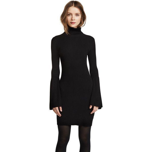 525 America Rib Tulip Sleeve Turtleneck Dress ($105) ❤ liked on Polyvore featuring dresses, black, flare sleeve dress, long-sleeve turtleneck dresses, sheath dresses, ribbed turtleneck and long-sleeve maxi dresses