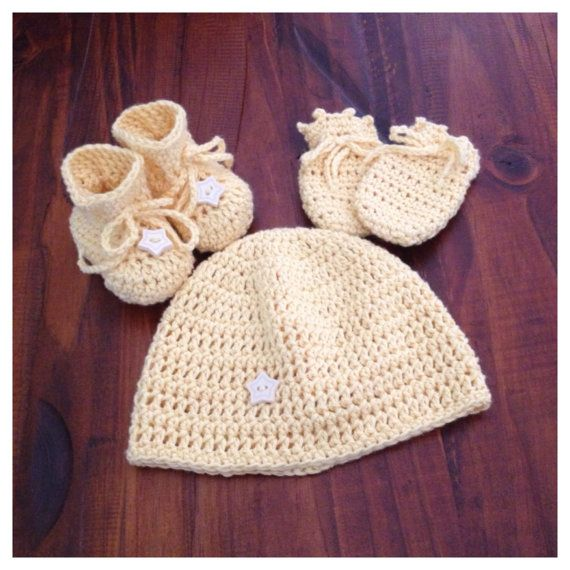 Hand crochet 3 piece set beanie booties and by Handcraftforbabies