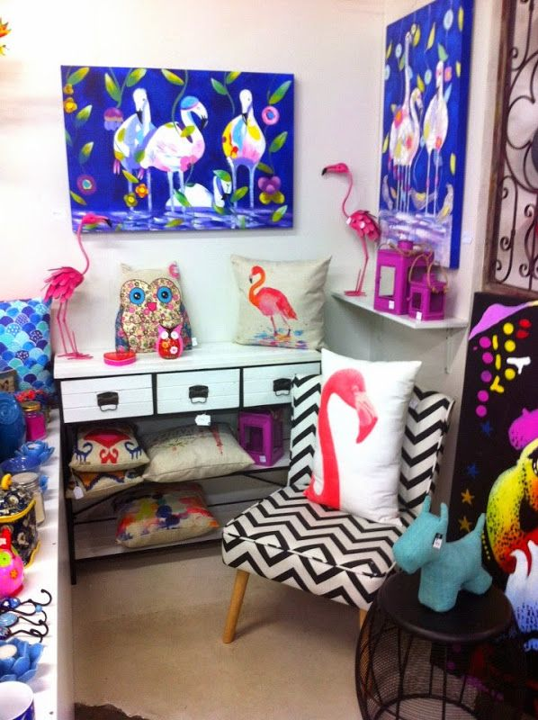 So much flamingo goodness!  #chevron #flamingos Shop Tour: O.W.L – Objects We Love | Jafa Living