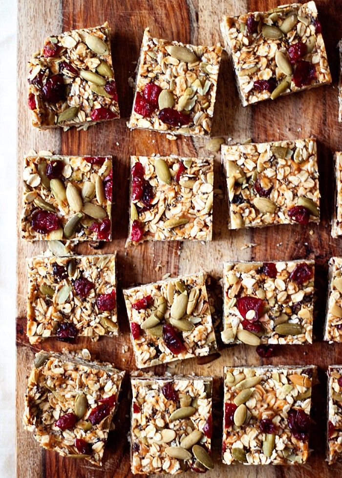 Trail Food Idea No Bake Peanut Butter Granola Bars With Dried Cranberries Pepitas