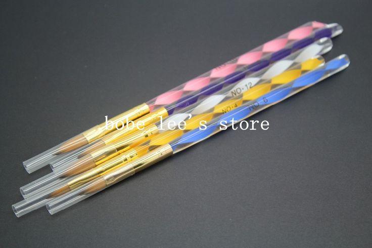 5 pçs/set Kolinsky acrílico Nail escova Kits Nail Art pintura desenho da caneta ferramentas para falso pontas das unhas UV unhas de Gel polonês alishoppbrasil