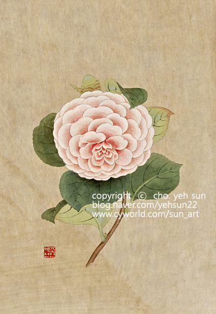 카멜리아[camellia] (동백나무)을 민화 채색기법으로 작업한 작품입니다. 세가지 칼라의 케멜리아 시리즈 ...