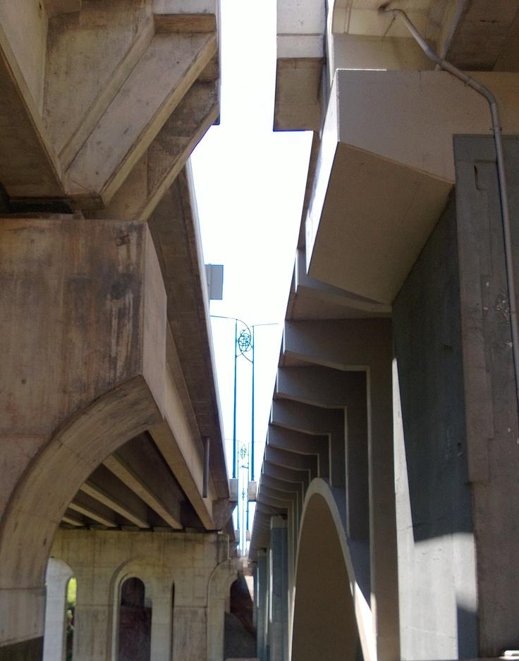 The space between two highway bridge spans.