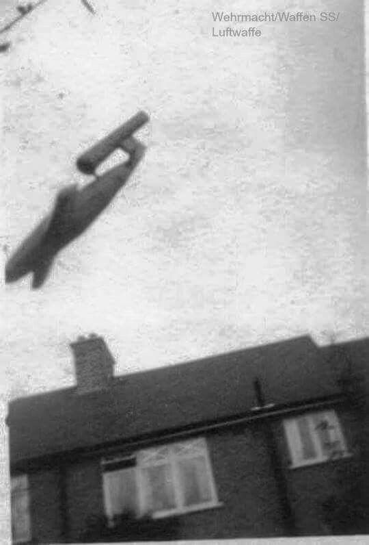 "Nazi ""buzz bomb"" or V rocket about to hit a UK target, assume London, maybe…"