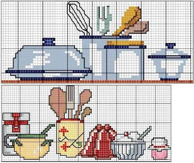 Ponto cruz: cozinha cucina utensili
