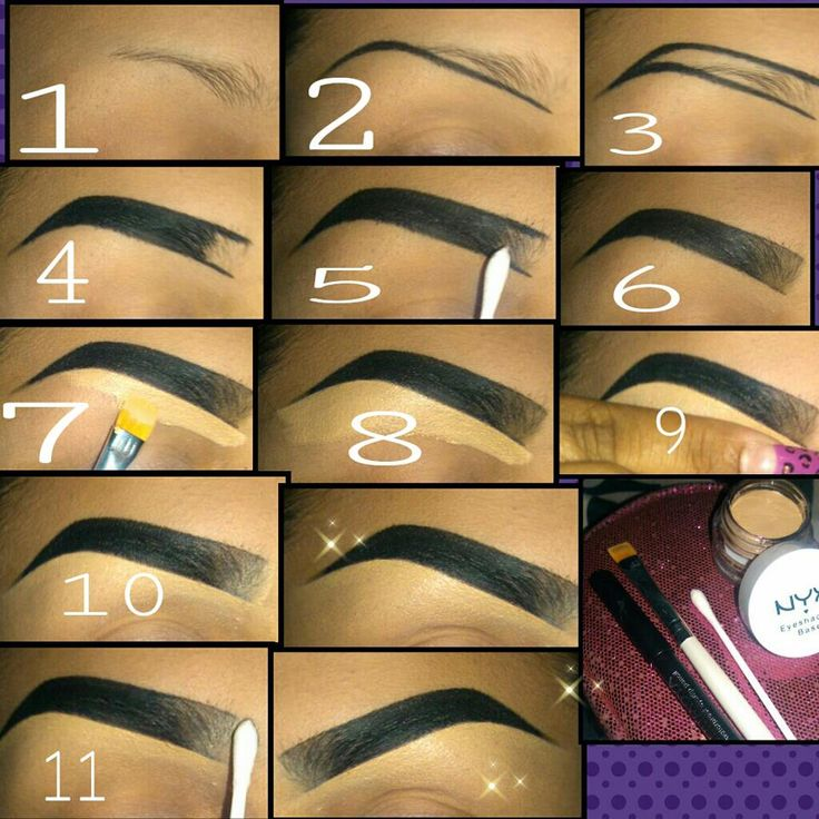 ~Eyebrow pictorial~ · Any black pencil · A flat brush · Nyx skin tone eyeshadow primer · Q tip 1. Put your powder/foundation on 2. Draw a line from where ur brow starts with a small curve at the end 3. Draw the top part of eyebrow and connect to the bottom line 4. Fill in but not the inner brow 5. With ur q tip shade the inner brow in the direction where the brow ends 7. With ur flat brush fill in the whole under brow area 9. Blend out with finger Click For More