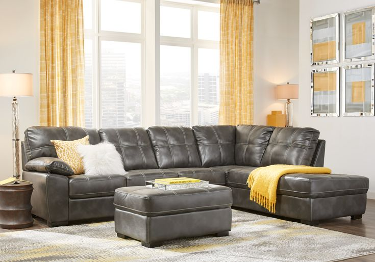 Bexley Square Slate 3 Pc Sectional Living Room Home