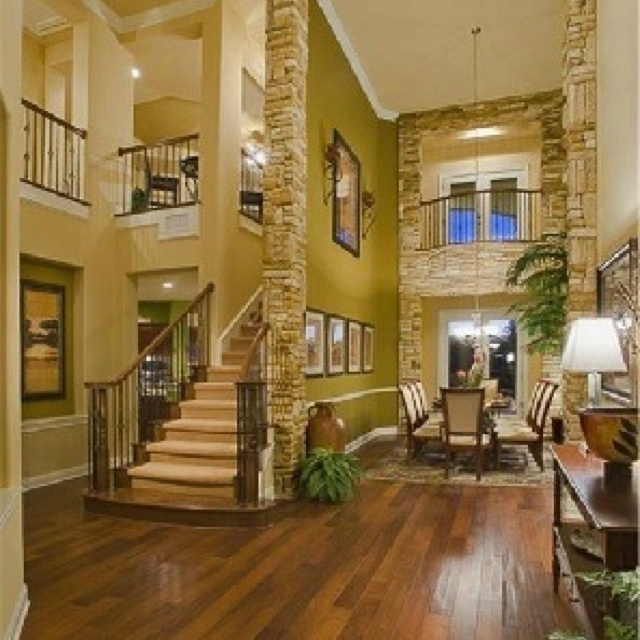 The stone walls bring a pop to the house and will invite people with relaxation.
