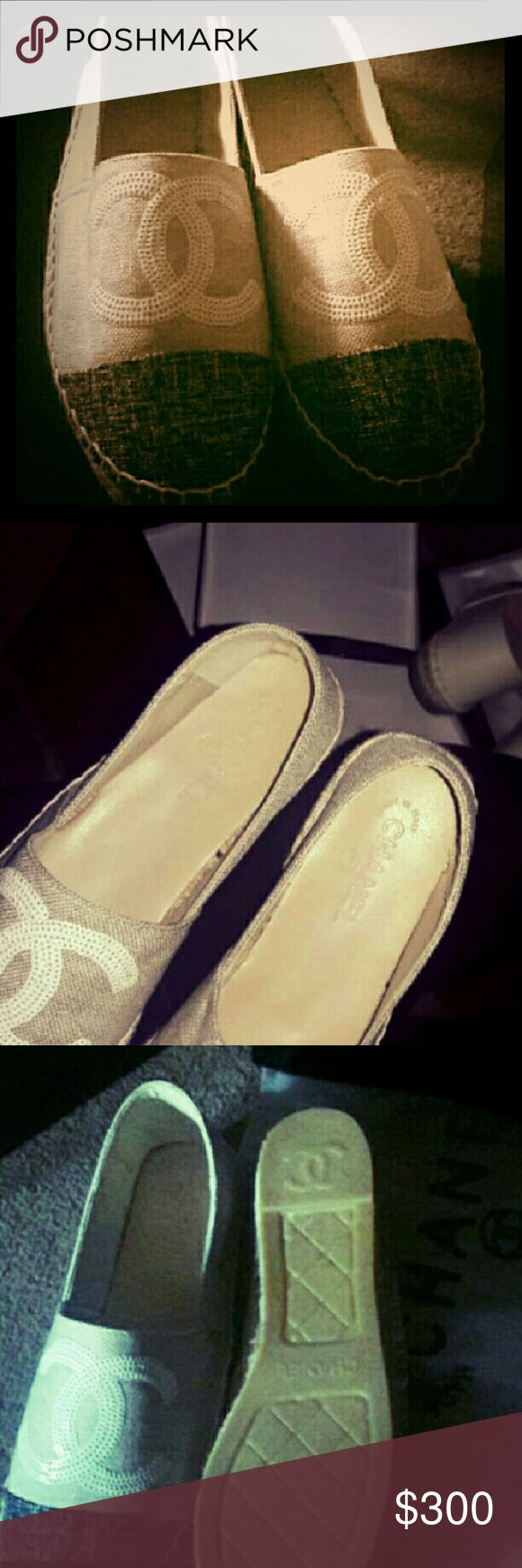 Chanel slip-ons new condition Heavy material New 2016 chanel slip-ons. Comfortable to wear. Size 37. Willing to negotiate price CHANEL Shoes Flats & Loafers