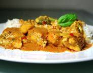 Delicious Coconut Curry Chicken! (garnished with fresh basil)