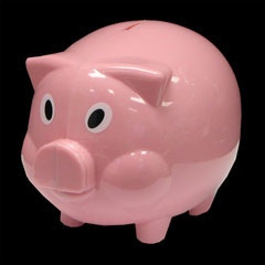 3 and a Half Inch Tall Pink Plastic Piggy Bank from Windy City Novelties