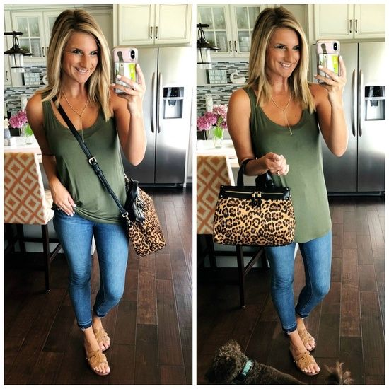 What to Wear with Leopard Print // Statement Bag for Summer and Fall // Fall Handbag // Leopard Print Handbag // Olive Top with Skinny Jeans and Slide Sandals // Date Night Outfit Idea // Summer Outfit Inspiration // Closet Staple Pieces // Summer Fashion