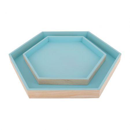 Dienblad Hexa set van 2 Blauw