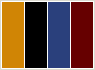 Red, black, medium blue and mustard yellow color scheme ...