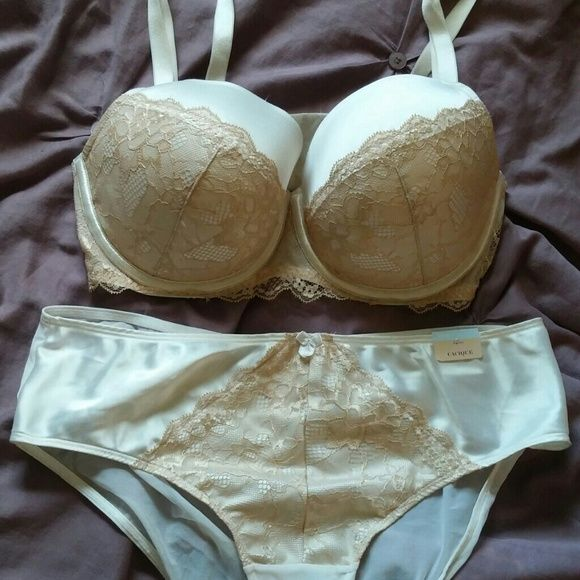 Lane Bryant Bra and Underwear Set Cream and nude bra and underwear set. The bra is a push up with convertable straps. With lace detail coming half way up the cup. The undies are silky solid in the front and sheer in the back with the same lace details as the bra. I thought I would wear the bra, so it doesn't have tags. The undies still have the tags. They are 14/16 bra is 38DD Lane Bryant Intimates & Sleepwear Bras