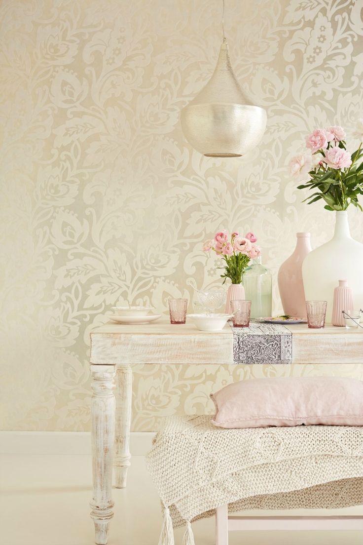 Beautiful all over large trailing floral wallpaper design in a velvet flock on a foil background.