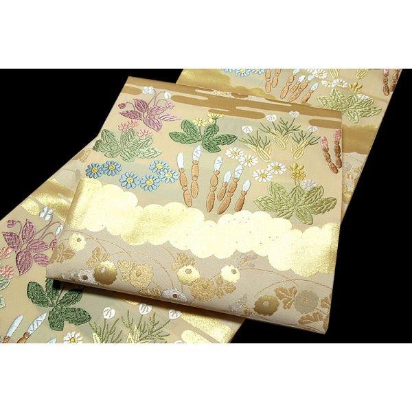 ■「山口美術織物謹織」 【春霞草花文】 唐織 最高級 袋帯■