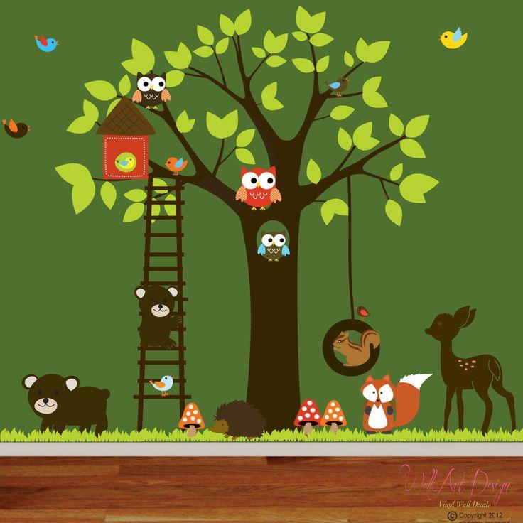 vinyl wall decal stickers swing tree set with owls birds deer bear animals nursery. Black Bedroom Furniture Sets. Home Design Ideas