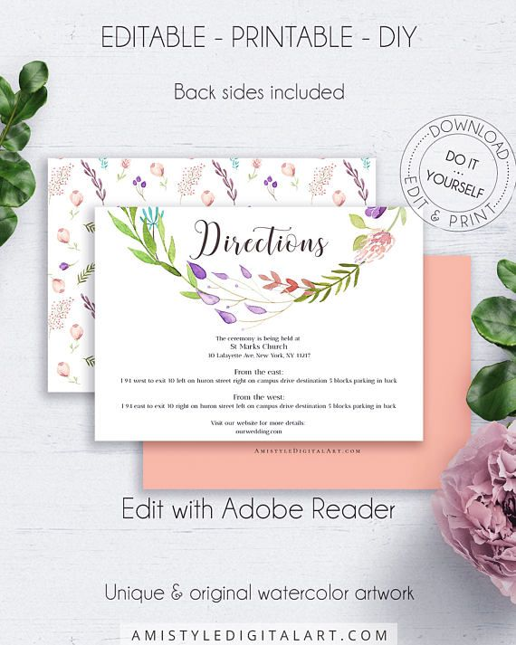Floral DIY Direction Card, with classy and special watercolor floral wreath graphics, for your boho and shabby chic style wedding.This pleasing wedding directions insert card template is an instant download EDITABLE PDF pack so you can download it right away, DIY edit and print it at home or at your local copy shop by Amistyle Digital Art on Etsy