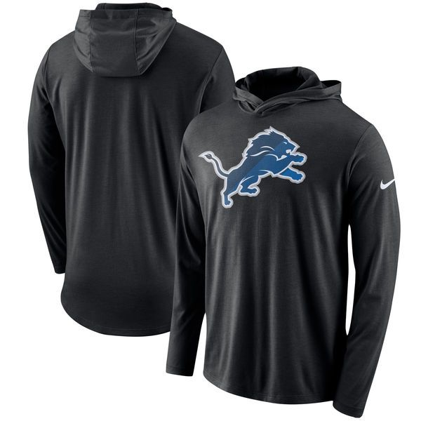 Detroit Lions Nike Blend Performance Hooded Long Sleeve T-Shirt – Black