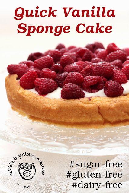 Quick #Vanilla Sponge #Cake - #glutenfree, #sugarfree, #dairyfree, #lowcarb, #lowglycemic, #diabetic, #healthy #recipe, #healthyrecipe