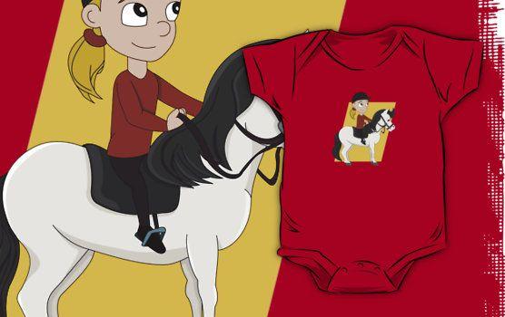 Girl riding a horse cartoon by Radka Kavalcova