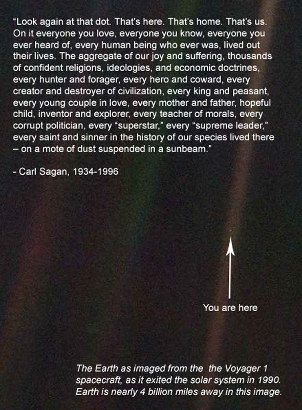 the history of our species lived there - on a mote of dust suspended in a sunbeam. -- carl sagan