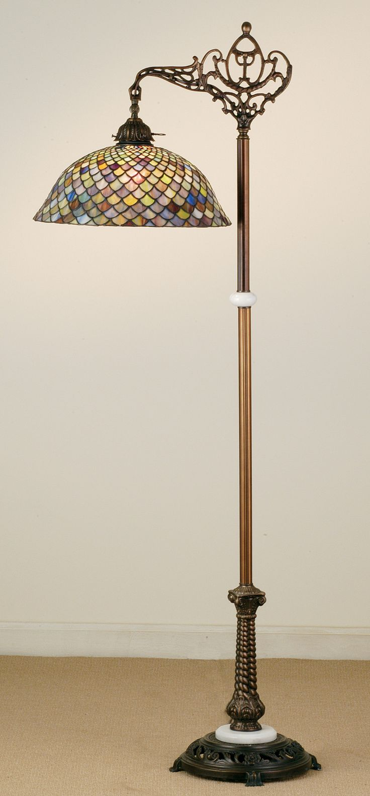 Dale tiffany floor lamps foter - Meyda 60 H Tiffany Fishscale Bridge Arm Floor Lamp