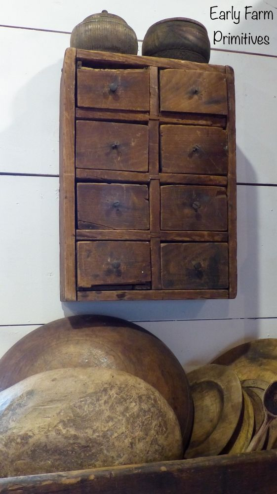 EARLY ANTIQUE PRIMITIVE EIGHT DRAWER APOTHECARY GREAT DRY PATINA #Primitive
