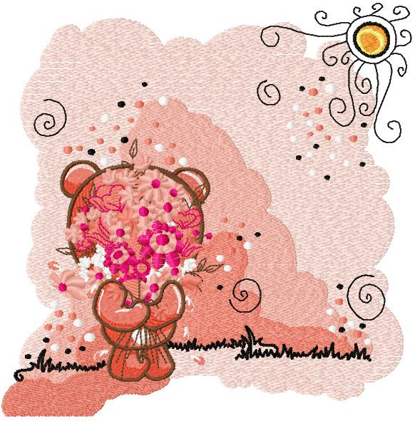 Teddy bear with flower happy embroidery design. Machine embroidery design. www.embroideres.com
